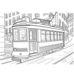 sketch lisbon tram vector image