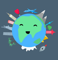 smiling planet earth on dark background vector image