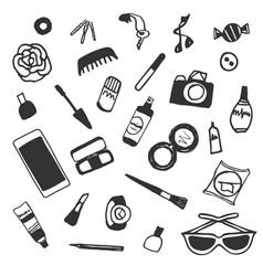 Sticker beauty items set hand drawn cartoon vector