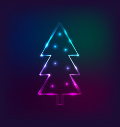 stylish new year card with neon christmas tree vector image