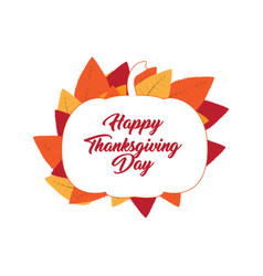 thanksgiving day label with a pumpkin silhouette vector image