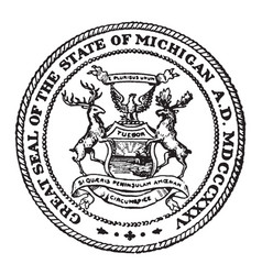 the great seal of the state of michigan vintage vector image