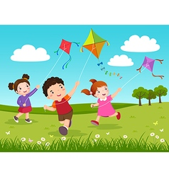Three kids flying kites in park vector