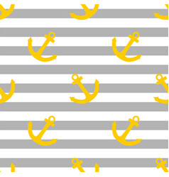 Tile sailor pattern with yellow anchor on grey vector