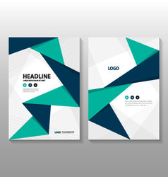 Triangle Green Blue Leaflet brochure flyer vector