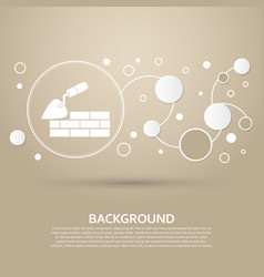 trowel building and brick wall icon on a brown vector image