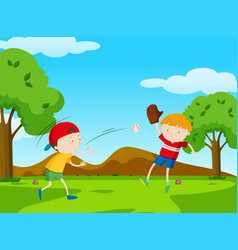 Two boys playing baseball in park vector