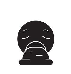 vomit emoji black concept icon vomit emoji vector image