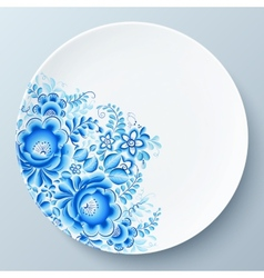 White plate with blue floral ornament vector image