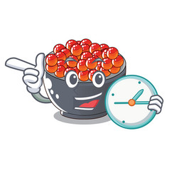 With clock roe salmon on cartoon wooden plate vector