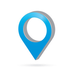 3d metal sky light blue map pointer icon marker vector