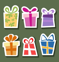 Abstract gift sticker set vector image vector image