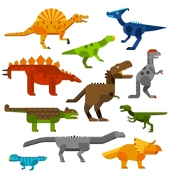 Cretaceous dinosaurs ground cartoon vector