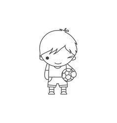 linear cute cartoon winking little boy with a vector image vector image