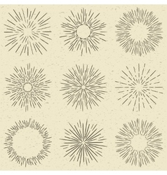 Set of hand drawn retro sunburst fireworks or vector image