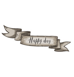 decorative card with kraft ribbon happy day vector image vector image