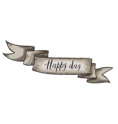 Decorative card with kraft ribbon happy day vector