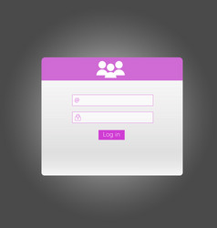 sign in interface login form vector image vector image