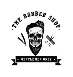skull barber shop vintage logo template vector image