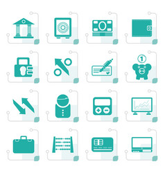 stylized bank business and finance icons vector image