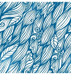 Blue hair waves doodle seamless pattern vector image vector image