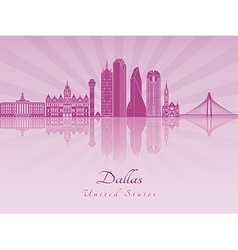 Dallas skyline in purple radiant orchid vector image