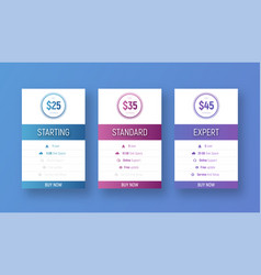 design of white price tables with a color vector image