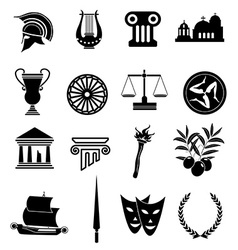 Greek Rome icons set vector image