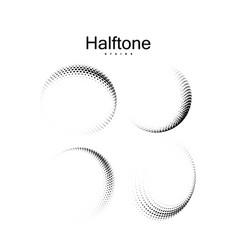 halftone 3d curved shapes set vector image