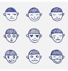 Hand drawn doodle emoticons set boys head emotions vector