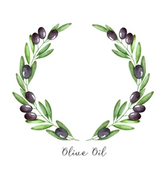 Watercolor olive branch vector