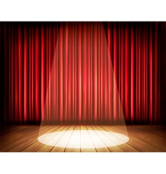 A theater stage with a red curtain and a spotlight vector image vector image