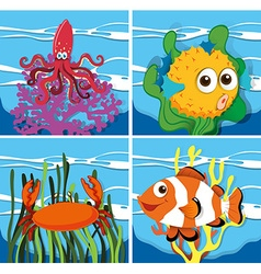 Different kind of sea lives vector image vector image