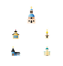 flat icon church set of catholic christian vector image
