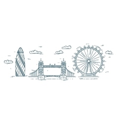 Modern flat line with London vector image vector image