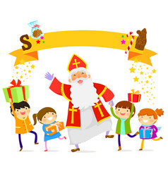 sinterklaas and kids vector image vector image