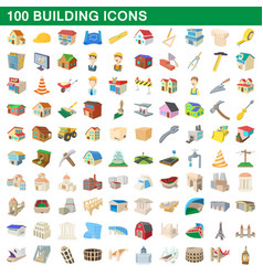 100 building icons set cartoon style vector image vector image
