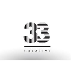 33 black and white lines number logo design vector