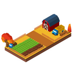 3d design for farmyard with barn and crops vector
