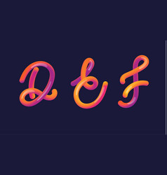 3d gradient lettering font set with letter - d e vector