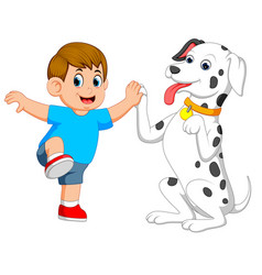 a cute dog is playing with his owner vector image