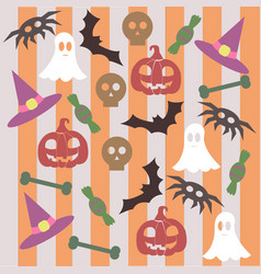 abstract pattern for halloween with pumpkin ghost vector image