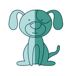 Aquamarine hand drawn silhouette of dog sitting vector