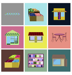 Assembly flat icons shop interior vector