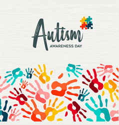 Autism awareness day colorful kid hand print card vector