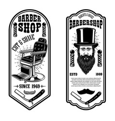 Barber shop flyer template barber chair and tools vector