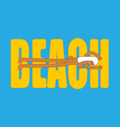beach lettering and beautiful sexy girl beautiful vector image