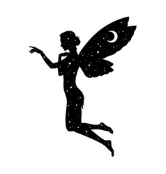 Beautiful girl fairy silhouette with crescent moon vector