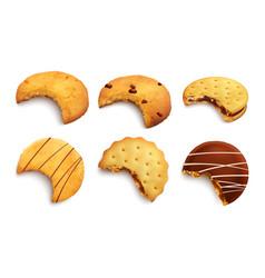 bitten realistic cookies vector image
