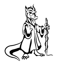 Black and white lizard vector